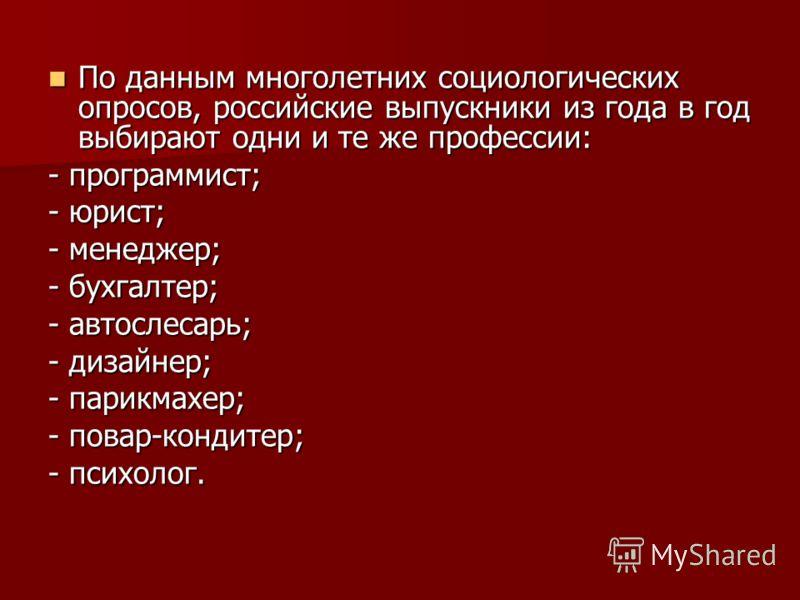 По данным многолетних социологических опросов, российские выпускники из года в год выбирают одни и те же профессии: По данным многолетних социологических опросов, российские выпускники из года в год выбирают одни и те же профессии: - программист; - ю