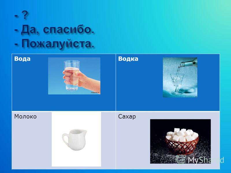 ВодаВодка МолокоСахар