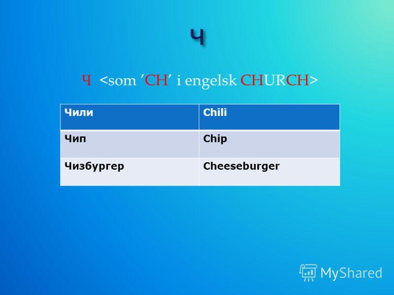 Ч ЧилиChili ЧипChip ЧизбургерCheeseburger