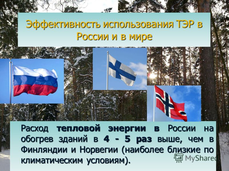 Эффективность использования ТЭР в России и в мире Расход тепловой энергии в России на обогрев зданий в 4 - 5 раз выше, чем в Финляндии и Норвегии (наиболее близкие по климатическим условиям). Расход тепловой энергии в России на обогрев зданий в 4 - 5
