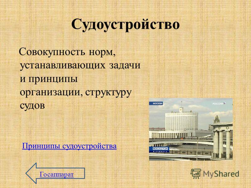 Судоустройство Совокупность норм, устанавливающих задачи и принципы организации, структуру судов Принципы судоустройства Госаппарат
