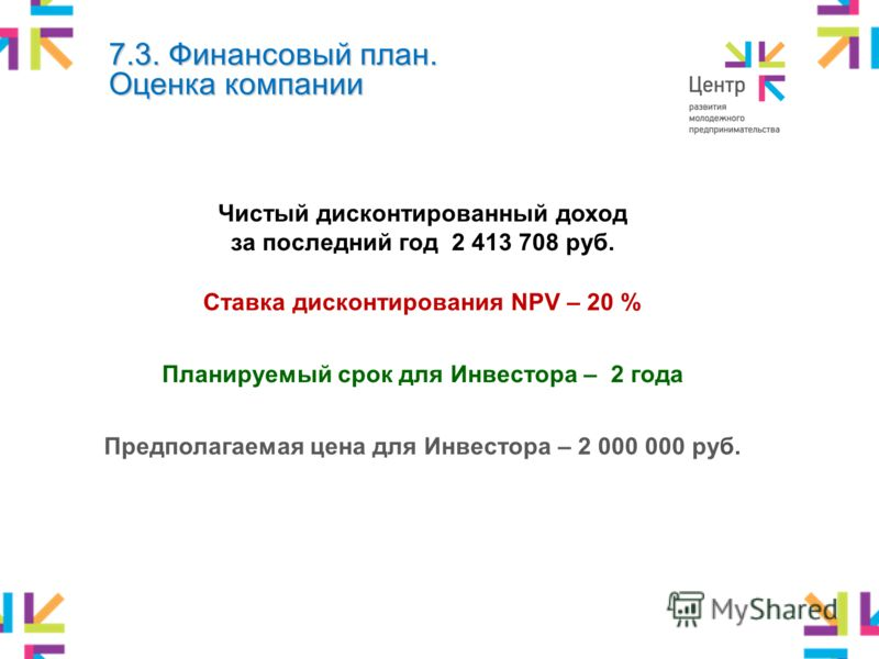 Чистый дисконтированный доход за последний год 2 413 708 руб. Ставка дисконтирования NPV – 20 % Планируемый срок для Инвестора – 2 года Предполагаемая цена для Инвестора – 2 000 000 руб. 7.3. Финансовый план. Оценка компании