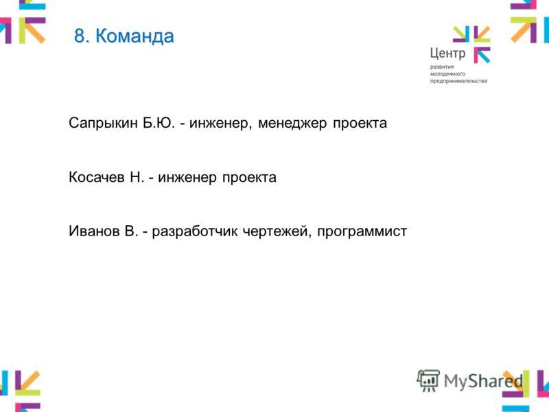 Сапрыкин Б.Ю. - инженер, менеджер проекта Косачев Н. - инженер проекта Иванов В. - разработчик чертежей, программист 8. Команда