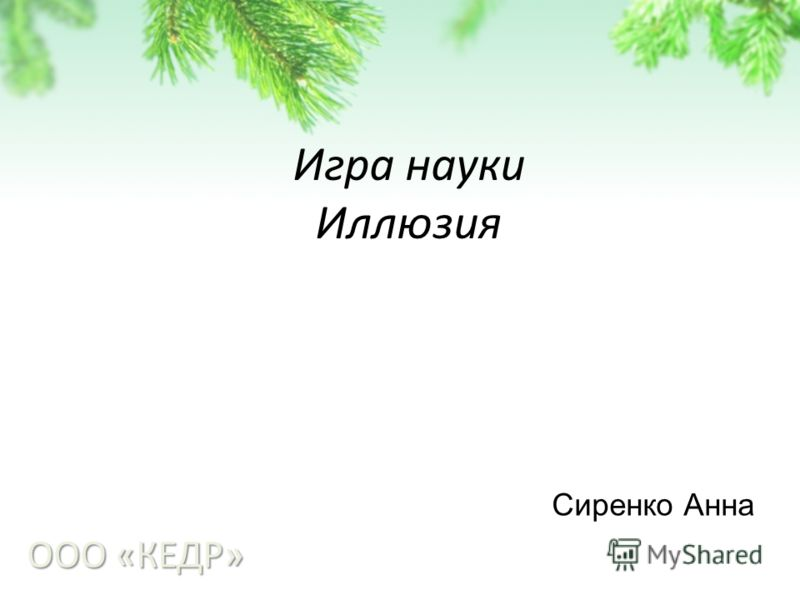 Игра науки Иллюзия ООО «КЕДР» Сиренко Анна