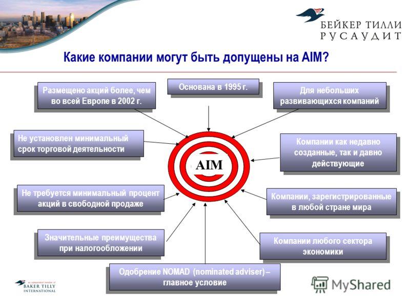 Какие компании могут быть допущены на AIM? Размещено акций более, чем во всей Европе в 2002 г. Основана в 1995 г. Компании, зарегистрированные в любой стране мира Компании любого сектора экономики Значительные преимущества при налогообложении Одобрен