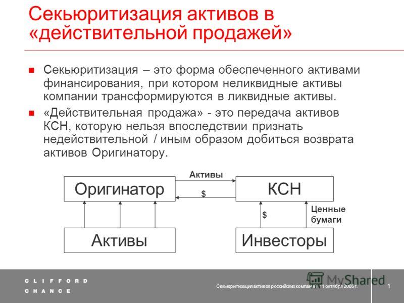 Секьюритизация активов российских компаний Денис Иванов 11 октября 2005 г.