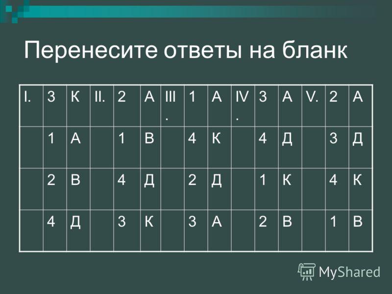 Перенесите ответы на бланк I.3КII.2АIII. 1АIV. 3АV.2А 1А1В4К4Д3Д 2В4Д2Д1К4К 4Д3К3А2В1В