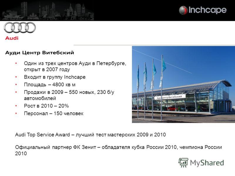 Один из трех центров Ауди в Петербурге, открыт в 2007 году Входит в группу Inchcape Площадь – 4800 кв м Продажи в 2009 – 550 новых, 230 б/у автомобилей Рост в 2010 – 20% Персонал – 150 человек Audi Top Service Award – лучший тест мастерских 2009 и 20
