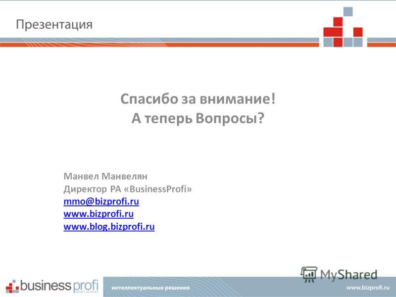Спасибо за внимание! А теперь Вопросы? Манвел Манвелян Директор РА «BusinessProfi» mmo@bizprofi.ru www.bizprofi.ru www.blog.bizprofi.ru