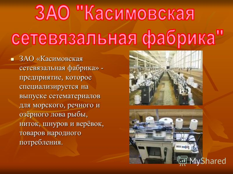 ЗАО «Касимовская сетевязальная фабрика» - предприятие, которое специализируется на выпуске сетематериалов для морского, речного и озёрного лова рыбы, ниток, шнуров и верёвок, товаров народного потребления. ЗАО «Касимовская сетевязальная фабрика» - пр