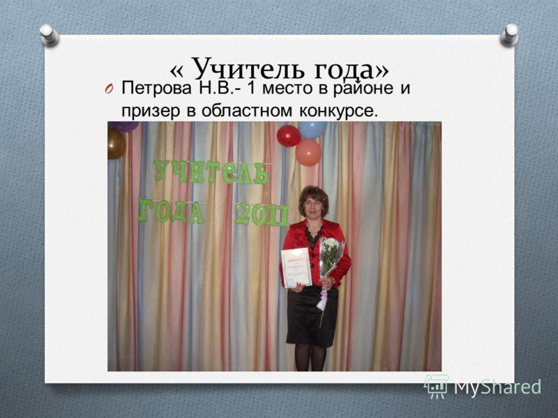 « Учитель года» O Петрова Н. В.- 1 место в районе и призер в областном конкурсе.