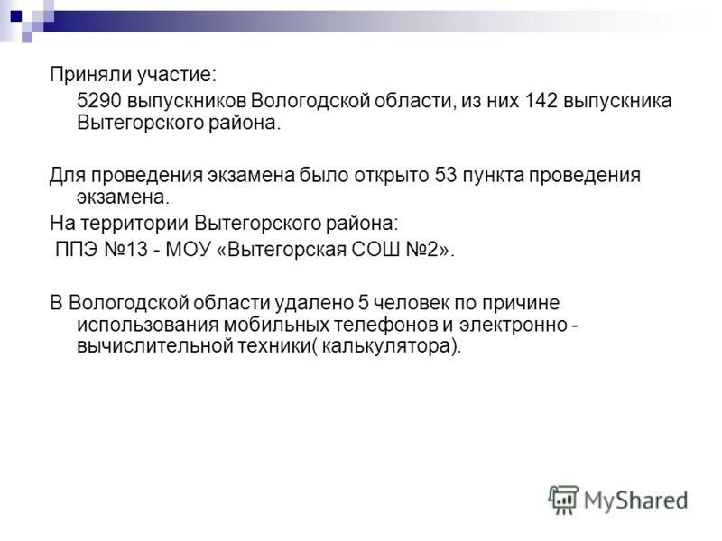 Приняли участие: 5290 выпускников Вологодской области, из них 142 выпускника Вытегорского района. Для проведения экзамена было открыто 53 пункта проведения экзамена. На территории Вытегорского района: ППЭ 13 - МОУ «Вытегорская СОШ 2». В Вологодской о