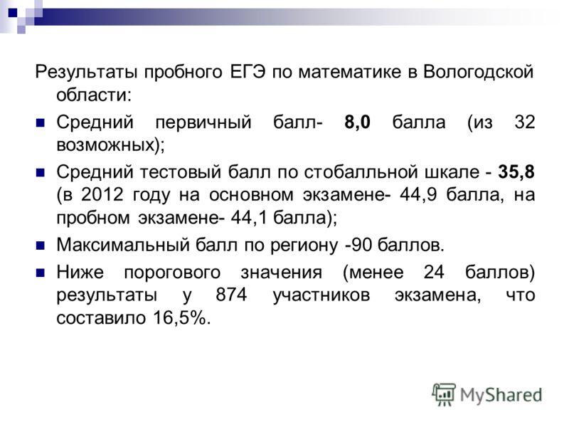 Результаты пробного ЕГЭ по математике в Вологодской области: Средний первичный балл- 8,0 балла (из 32 возможных); Средний тестовый балл по стобалльной шкале - 35,8 (в 2012 году на основном экзамене- 44,9 балла, на пробном экзамене- 44,1 балла); Макси
