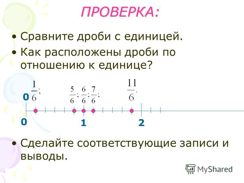 ПРОВЕРКА: Сравните дроби с единицей. Как расположены дроби по отношению к единице? Сделайте соответствующие записи и выводы. 12 0 0