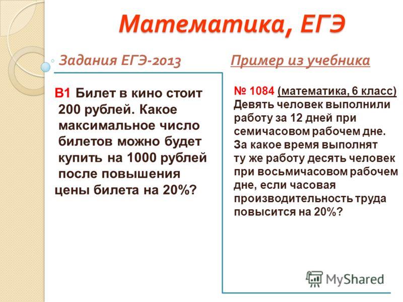 Математика, ЕГЭ Задания ЕГЭ -2013 Пример из учебника В1 Билет в кино стоит 200 рублей. Какое максимальное число билетов можно будет купить на 1000 рублей после повышения цены билета на 20%? 1084 (математика, 6 класс) Девять человек выполнили работу з