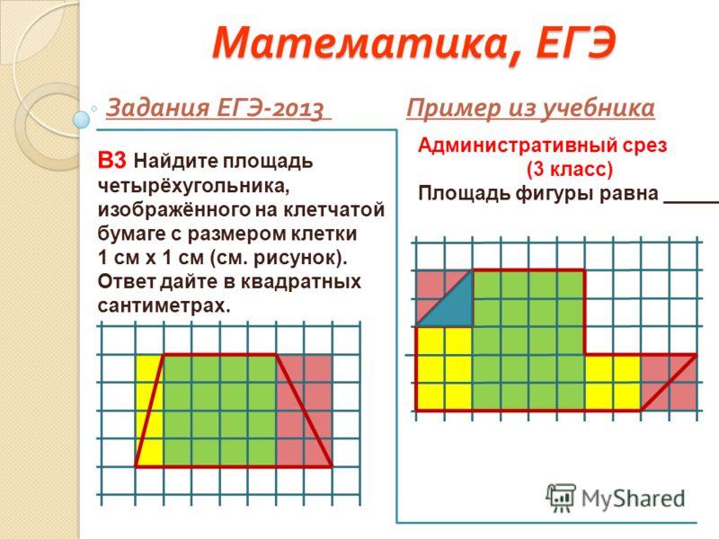 Математика, ЕГЭ Задания ЕГЭ -2013 Пример из учебника В3 Найдите площадь четырёхугольника, изображённого на клетчатой бумаге с размером клетки 1 см х 1 см (см. рисунок). Ответ дайте в квадратных сантиметрах. Административный срез (3 класс) Площадь фиг