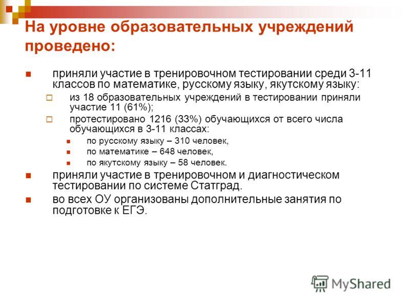 На уровне образовательных учреждений проведено: приняли участие в тренировочном тестировании среди 3-11 классов по математике, русскому языку, якутскому языку: из 18 образовательных учреждений в тестировании приняли участие 11 (61%); протестировано 1