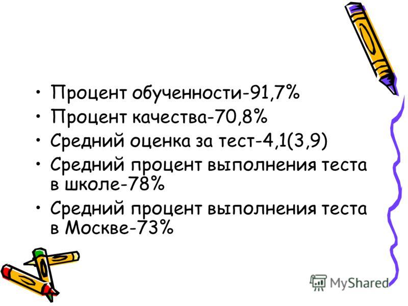 Процент обученности-91,7% Процент качества-70,8% Средний оценка за тест-4,1(3,9) Средний процент выполнения теста в школе-78% Средний процент выполнения теста в Москве-73%