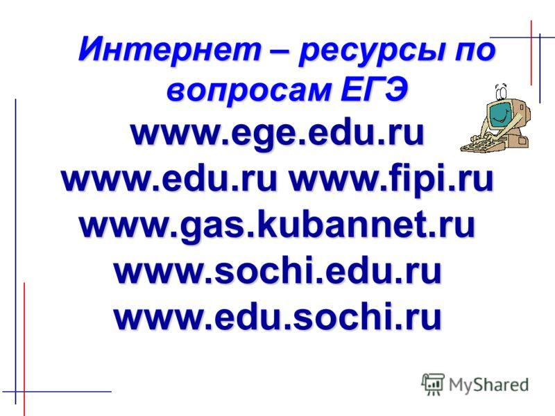 www.ege.edu.ru www.edu.ru www.fipi.ru www.gas.kubannet.ru www.sochi.edu.ru www.edu.sochi.ru Интернет – ресурсы по вопросам ЕГЭ