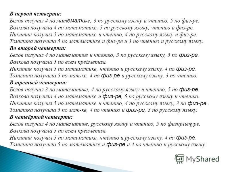 В первой четверти: Белов получил 4 по мат емати ке, 3 по русскому языку и чтению, 5 по физ-ре. Волкова получила 4 по математике, 5 по русскому языку, чтению и физ-ре. Никитин получил 5 по математике и чтению, 4 по русскому языку и физ-ре. Томилина по