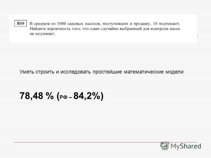 Уметь строить и исследовать простейшие математические модели 78,48 % ( РФ – 84,2%)