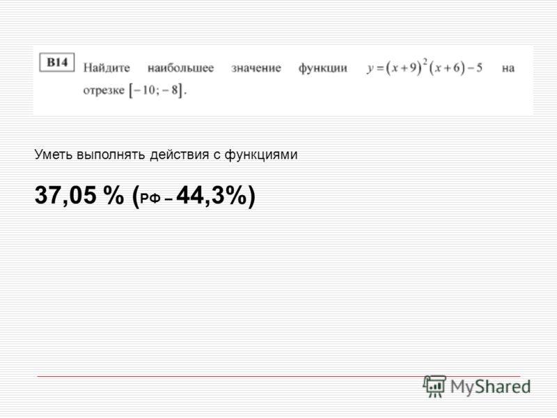 Уметь выполнять действия с функциями 37,05 % ( РФ – 44,3%)