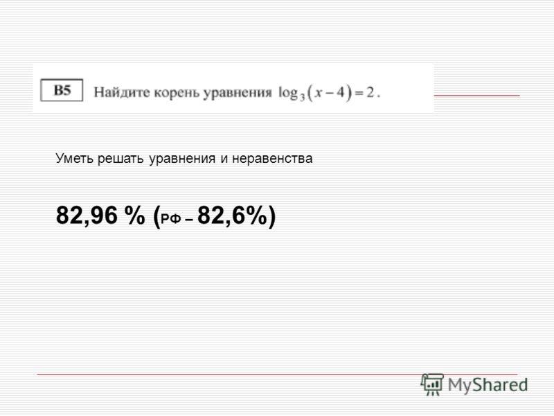 Уметь решать уравнения и неравенства 82,96 % ( РФ – 82,6%)