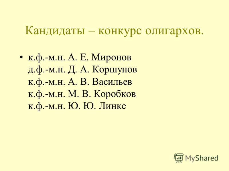 Кандидаты – конкурс олигархов. к.ф.-м.н. А. Е. Миронов д.ф.-м.н. Д. А. Коршунов к.ф.-м.н. А. В. Васильев к.ф.-м.н. М. В. Коробков к.ф.-м.н. Ю. Ю. Линке