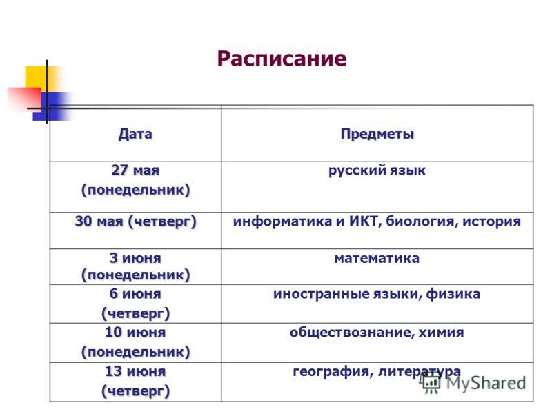 Расписание ДатаПредметы 27 мая (понедельник) русский язык 30 мая (четверг) информатика и ИКТ, биология, история 3 июня (понедельник) математика 6 июня (четверг) иностранные языки, физика 10 июня (понедельник) обществознание, химия 13 июня (четверг) г