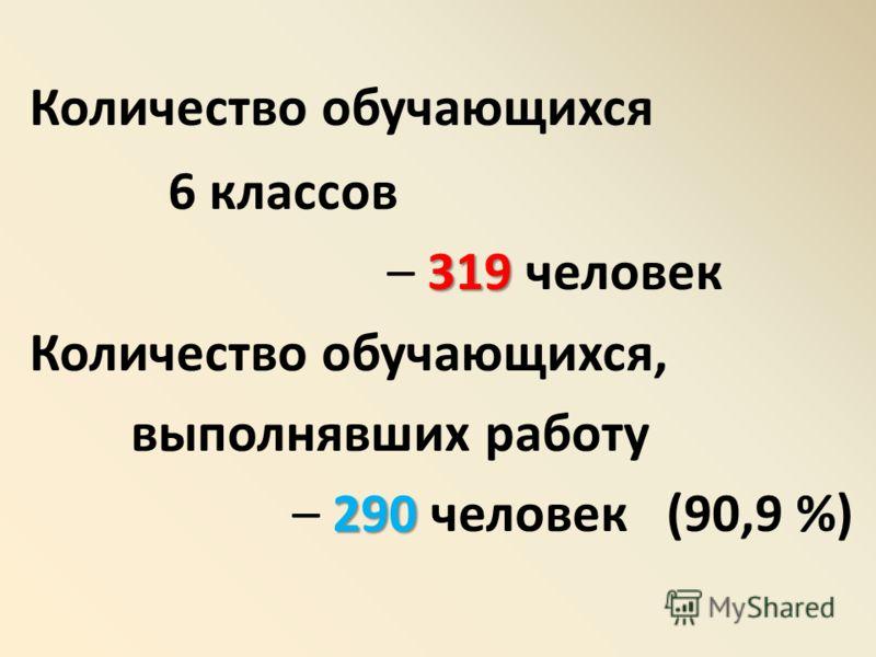 Количество обучающихся 6 классов 319 – 319 человек Количество обучающихся, выполнявших работу 290 – 290 человек (90,9 %)
