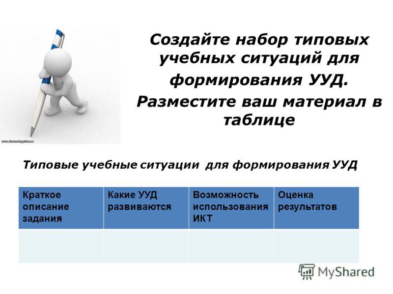 Типовые учебные ситуации для формирования УУД Краткое описание задания Какие УУД развиваются Возможность использования ИКТ Оценка результатов Создайте набор типовых учебных ситуаций для формирования УУД. Разместите ваш материал в таблице