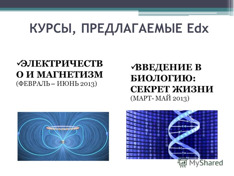 КУРСЫ, ПРЕДЛАГАЕМЫЕ Edx ЭЛЕКТРИЧЕСТВ О И МАГНЕТИЗМ (ФЕВРАЛЬ – ИЮНЬ 2013) ВВЕДЕНИЕ В БИОЛОГИЮ: СЕКРЕТ ЖИЗНИ (МАРТ- МАЙ 2013)