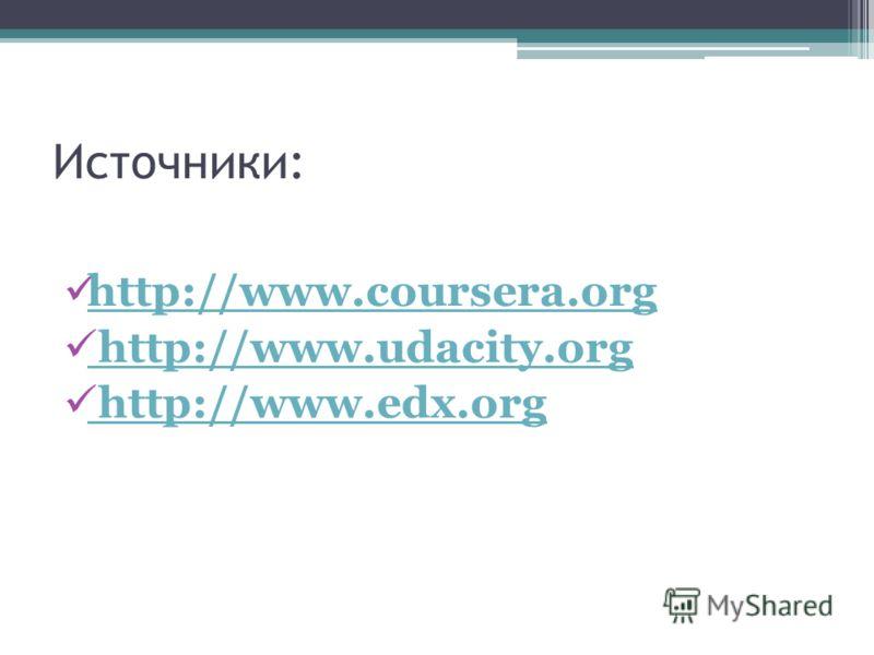Источники: http://www.coursera.org http://www.udacity.org http://www.udacity.org http://www.edx.org http://www.edx.org