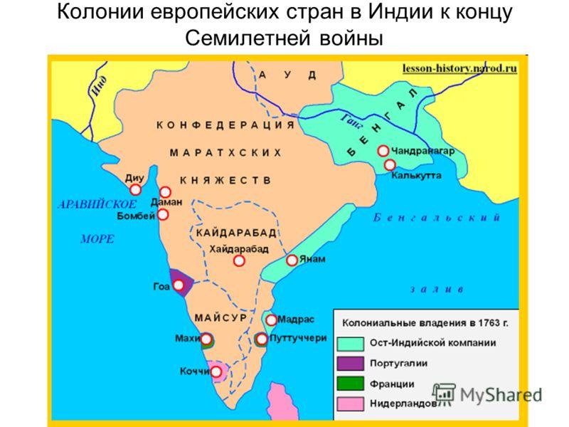 Колонии европейских стран в Индии к концу Семилетней войны