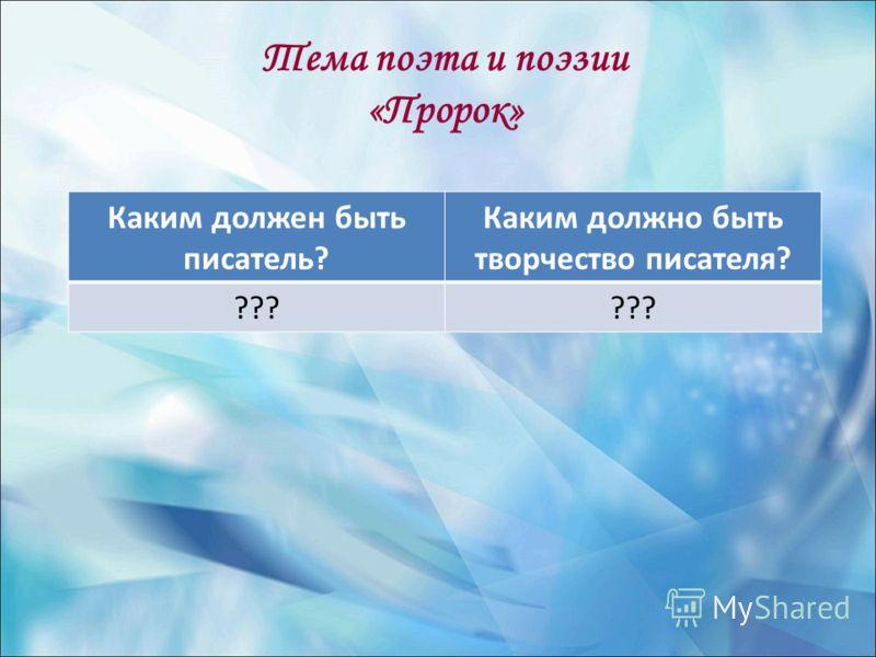 Тема поэта и поэзии «Пророк» Каким должен быть писатель? Каким должно быть творчество писателя? ???
