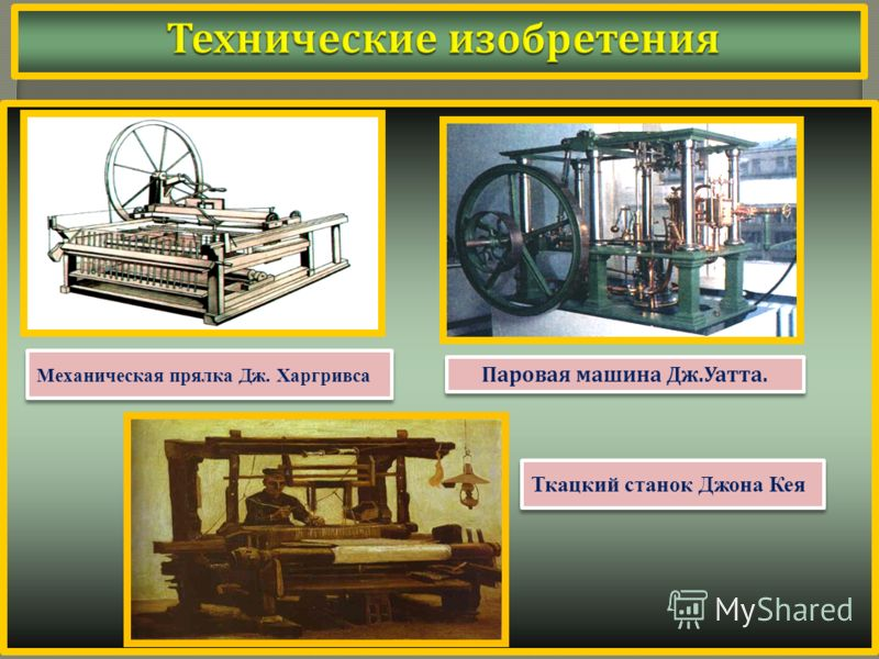 Механическая прялка Дж. Харгривса Паровая машина Дж. Уатта. Ткацкий станок Джона Кея