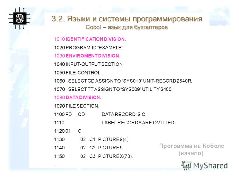 41 Программа на Коболе (начало) 1010 IDENTIFICATION DIVISION. 1020 PROGRAM-ID EXAMPLE. 1030 ENVIROMENT DIVISION. 1040 INPUT-OUTPUT SECTION. 1050 FILE-CONTROL. 1060 SELECT CD ASSIGN TO SYS010 UNIT-RECORD 2540R. 1070 SELECT TT ASSIGN TO SYS009 UTILITY