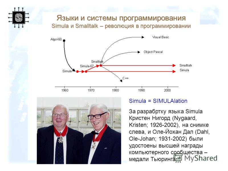 52 Языки и системы программирования Simula и Smalltalk – революция в программировании Simula = SIMULAlation За разрабртку языка Simula Кристен Нигорд (Nygaard, Kristen; 1926-2002), на снимке слева, и Оле-Йохан Дал (Dahl, Ole-Johan; 1931-2002) были уд
