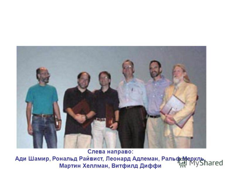 Слева направо: Ади Шамир, Рональд Райвист, Леонард Адлеман, Ральф Меркль, Мартин Хеллман, Витфилд Диффи