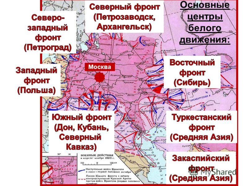 Основные центры белого движения: Москва
