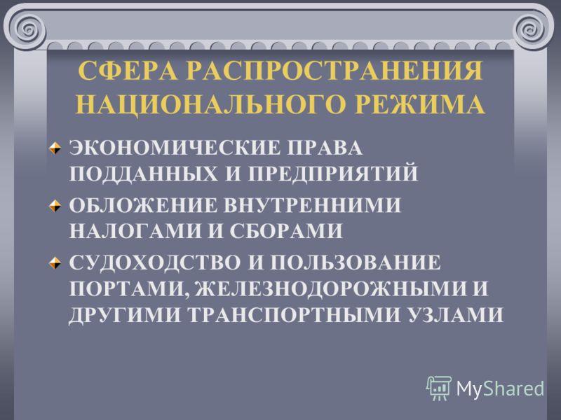 СФЕРА РАСПРОСТРАНЕНИЯ НАЦИОНАЛЬНОГО РЕЖИМА ЭКОНОМИЧЕСКИЕ ПРАВА ПОДДАННЫХ И ПРЕДПРИЯТИЙ ОБЛОЖЕНИЕ ВНУТРЕННИМИ НАЛОГАМИ И СБОРАМИ СУДОХОДСТВО И ПОЛЬЗОВАНИЕ ПОРТАМИ, ЖЕЛЕЗНОДОРОЖНЫМИ И ДРУГИМИ ТРАНСПОРТНЫМИ УЗЛАМИ