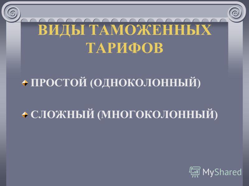ВИДЫ ТАМОЖЕННЫХ ТАРИФОВ ПРОСТОЙ (ОДНОКОЛОННЫЙ) СЛОЖНЫЙ (МНОГОКОЛОННЫЙ)
