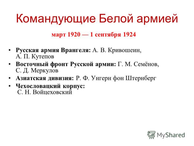 Март 1920 1 сентября 1924 русская армия