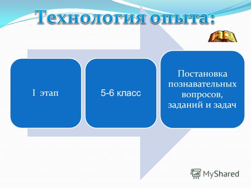 I этап 5-6 класс Постановка познавательных вопросов, заданий и задач