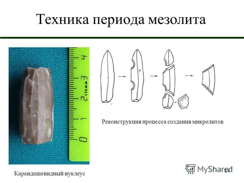 24 Техника периода мезолита Реконструкция процесса создания микролитов Карандашевидный нуклеус