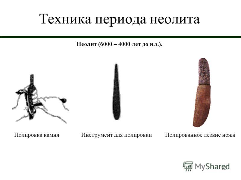 33 Техника периода неолита Неолит (6000 – 4000 лет до н.э.). Полировка камняИнструмент для полировкиПолированное лезвие ножа