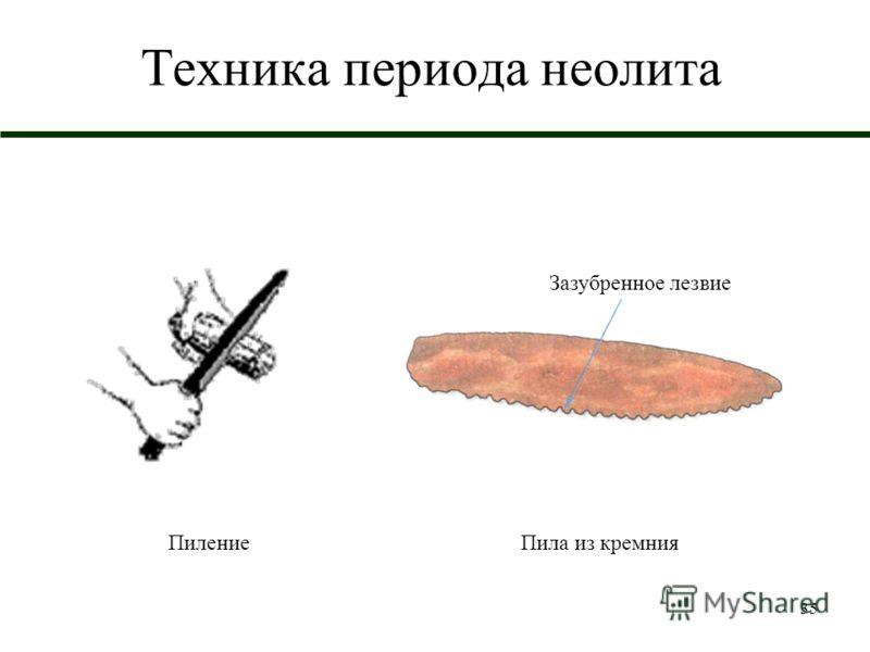 35 Техника периода неолита ПилениеПила из кремния Зазубренное лезвие