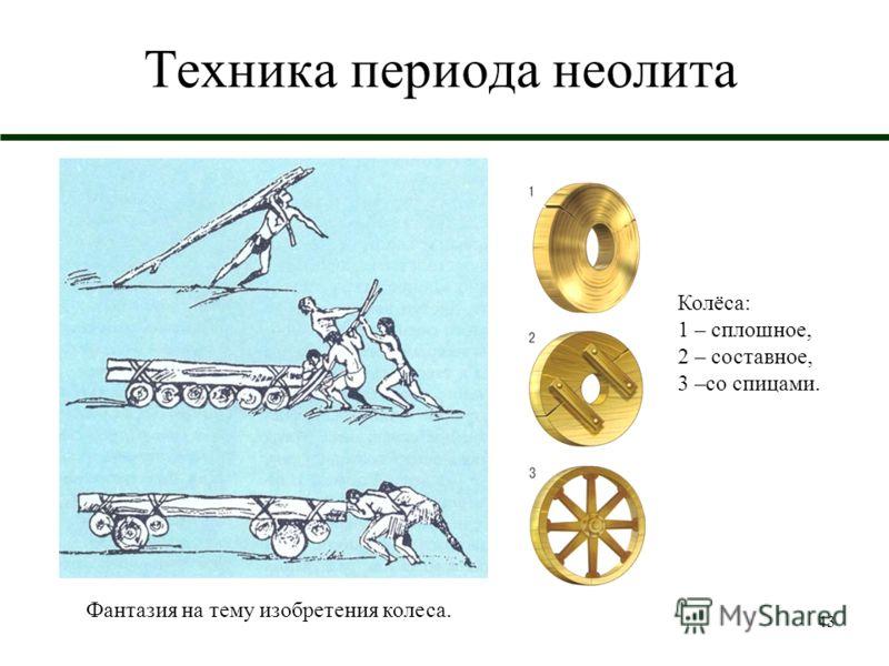 43 Техника периода неолита Колёса: 1 – сплошное, 2 – составное, 3 –со спицами. Фантазия на тему изобретения колеса.