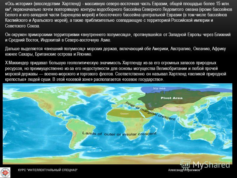 «Ось истории» (впоследствии Хартленд) - массивную северо-восточная часть Евразии, общей площадью более 15 млн. км², первоначально почти повторявшую контуры водосборного бассейна Северного Ледовитого океана (кроме бассейнов Белого и юго-западной части