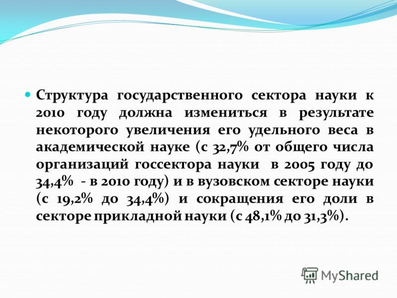 Структура государственного сектора науки к 2010 году должна измениться в результате некоторого увеличения его удельного веса в академической науке (с 32,7% от общего числа организаций госсектора науки в 2005 году до 34,4% - в 2010 году) и в вузовском